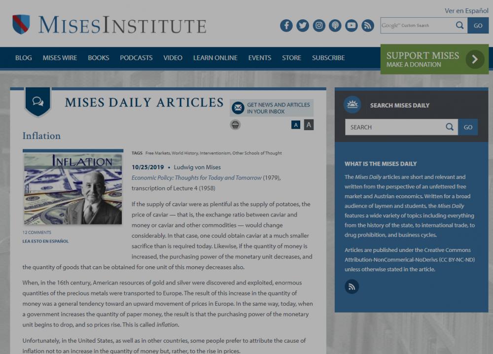 Inflation Mises Institute